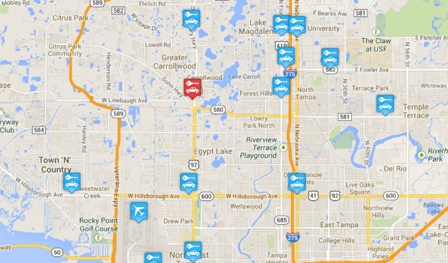 Car rental locations around Tampa Airport, USA